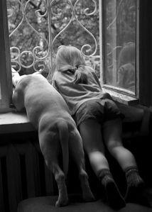 nena con perro ventana